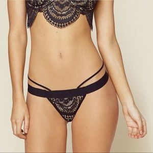 New For Love & Lemons Lucia Black Lace Thong